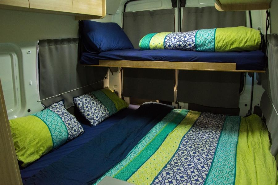 Bett in einem Wohnmobil