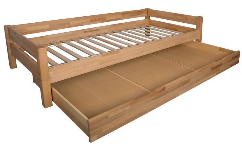 Bubema Duo Bett mit Bettkasten 90x200cm Buche massiv Farbe natur geoelt inkl Rollrost