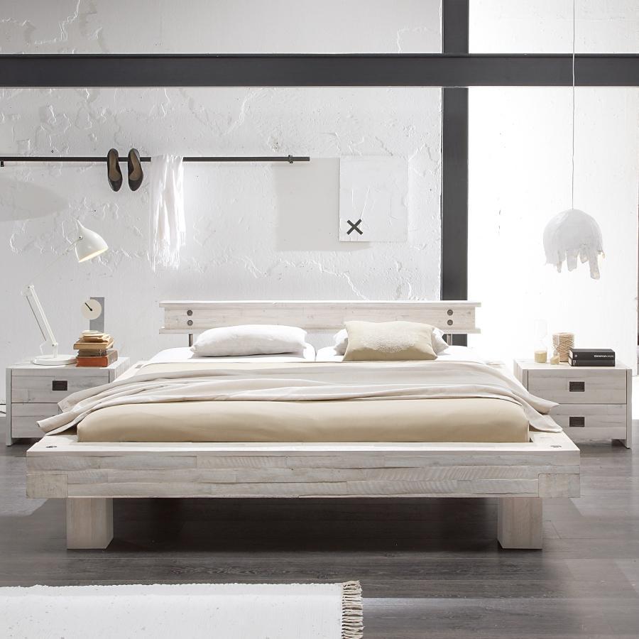 Hasena Bett Factory Line, Bloc Rahmen im Loft-Stil massive Akazie mit Kopfteil und Fuessen optimaler-schlaf-vor-mitternacht