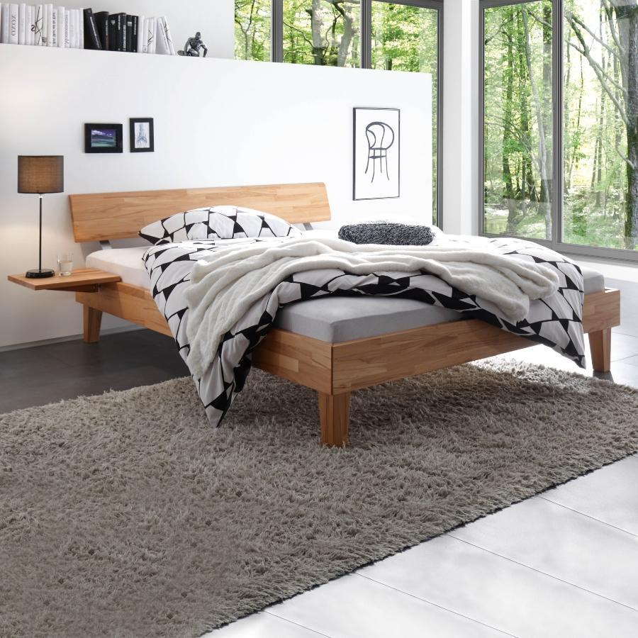 Hasena Bett Wood-Line, Kernbuche natur geoelt, Kopfteil Rino, zeitloses Design