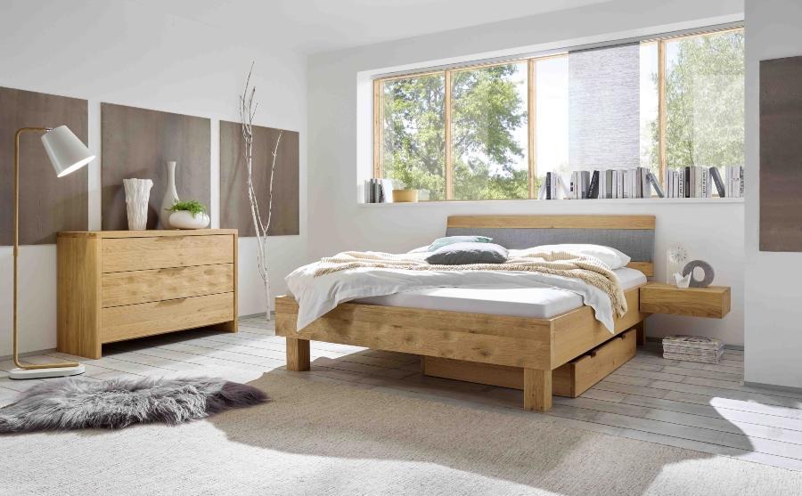 Hasena Nachttisch Caja, zur Montage am Bett, mit einer Schublade aus der Oak Bianco Serie