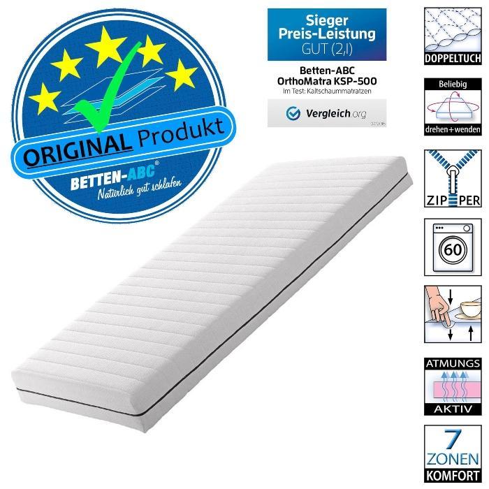 OrthoMatra KSP-Spezial Das Original Sondermass Matratze, 7 Zonen, RG30, Bezug waschbar bettenhygiene