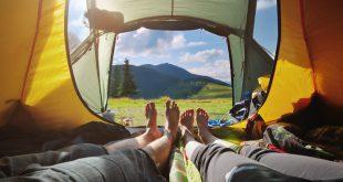 Blick aus einem Zelt - Bequem schlafen im Zelt