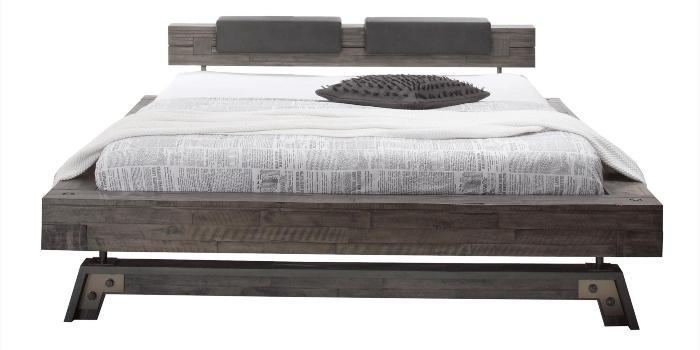 Hasena Bett Factory Line Bloc Rahmen im Loft-Stil massive Akazie mit Kopfteil Polster und Fuessen