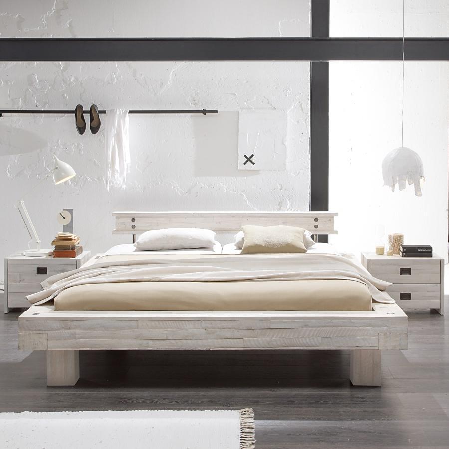 Hasena Bett Factory Line Bloc Rahmen im Loft-Stil massive Akazie mit Kopfteil und Fuessen
