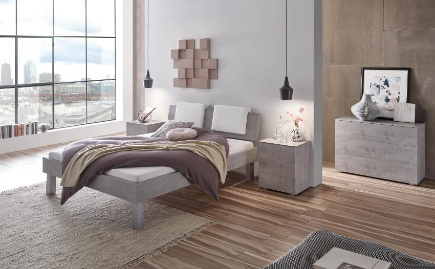 Hasena Bett Top-Line, Farbe Beton, gemütliches Schlafzimmer