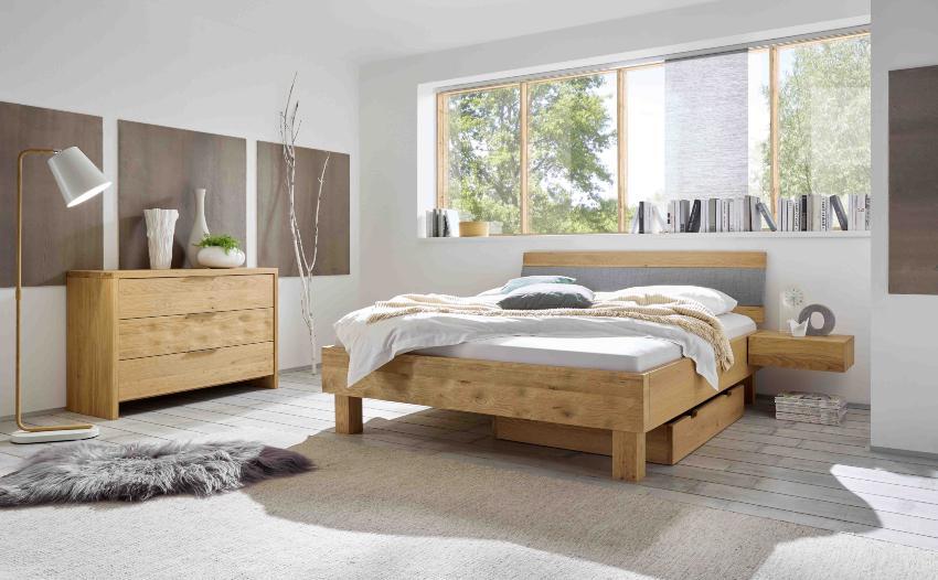 Hasena Bett Oak-Bianco, gemütliches Schlafzimmer