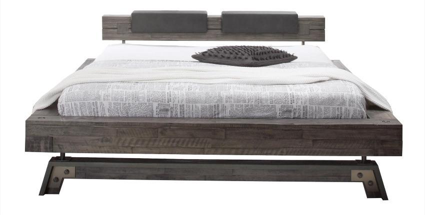 Hasena Bett Factory Line, Bloc Rahmen im Loft-Stil massive Akazie mit Kopfteil, Polster und Füßen