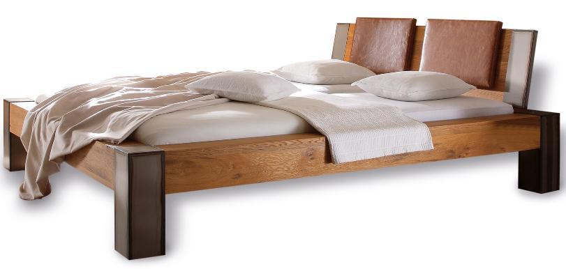 Massivholzbett Bormio, Hasena Oak Line Wild, Wildeiche natur, gebürstet, Füße Iron 20 cm - Betten im Vergleich