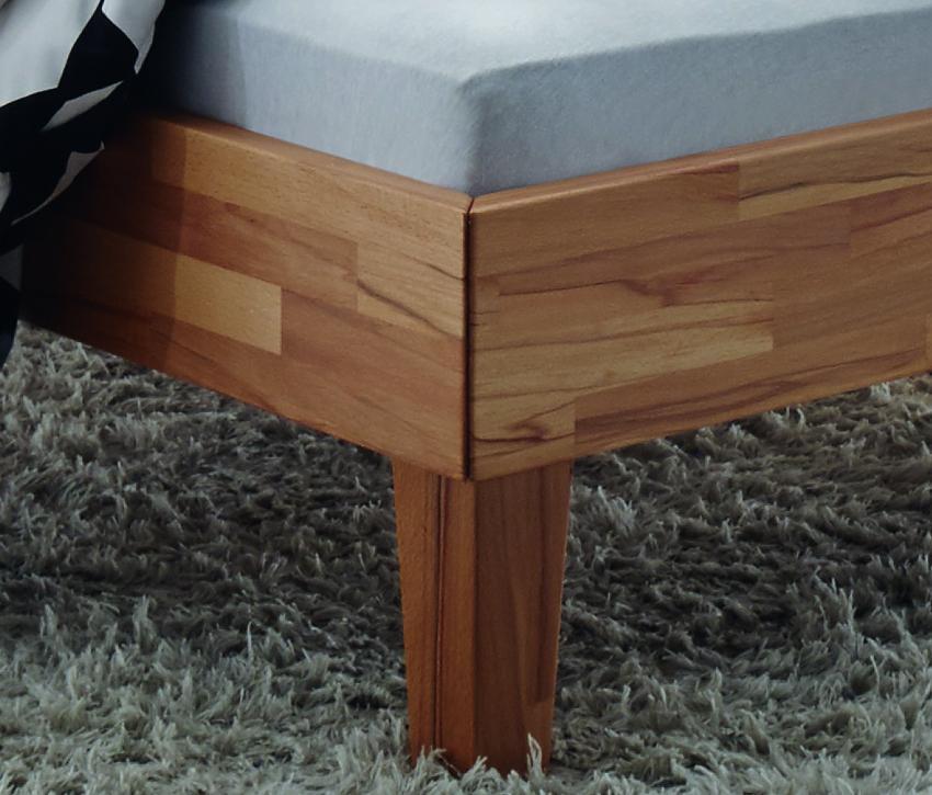 Hasena Bett Wood-Line, Kernbuche natur geölt, Kopfteil Rino, zeitloses Design Einlegetiefe