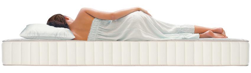 Frau seitlich im Bett - Orthopädische Matratzen helfen bei Problemen