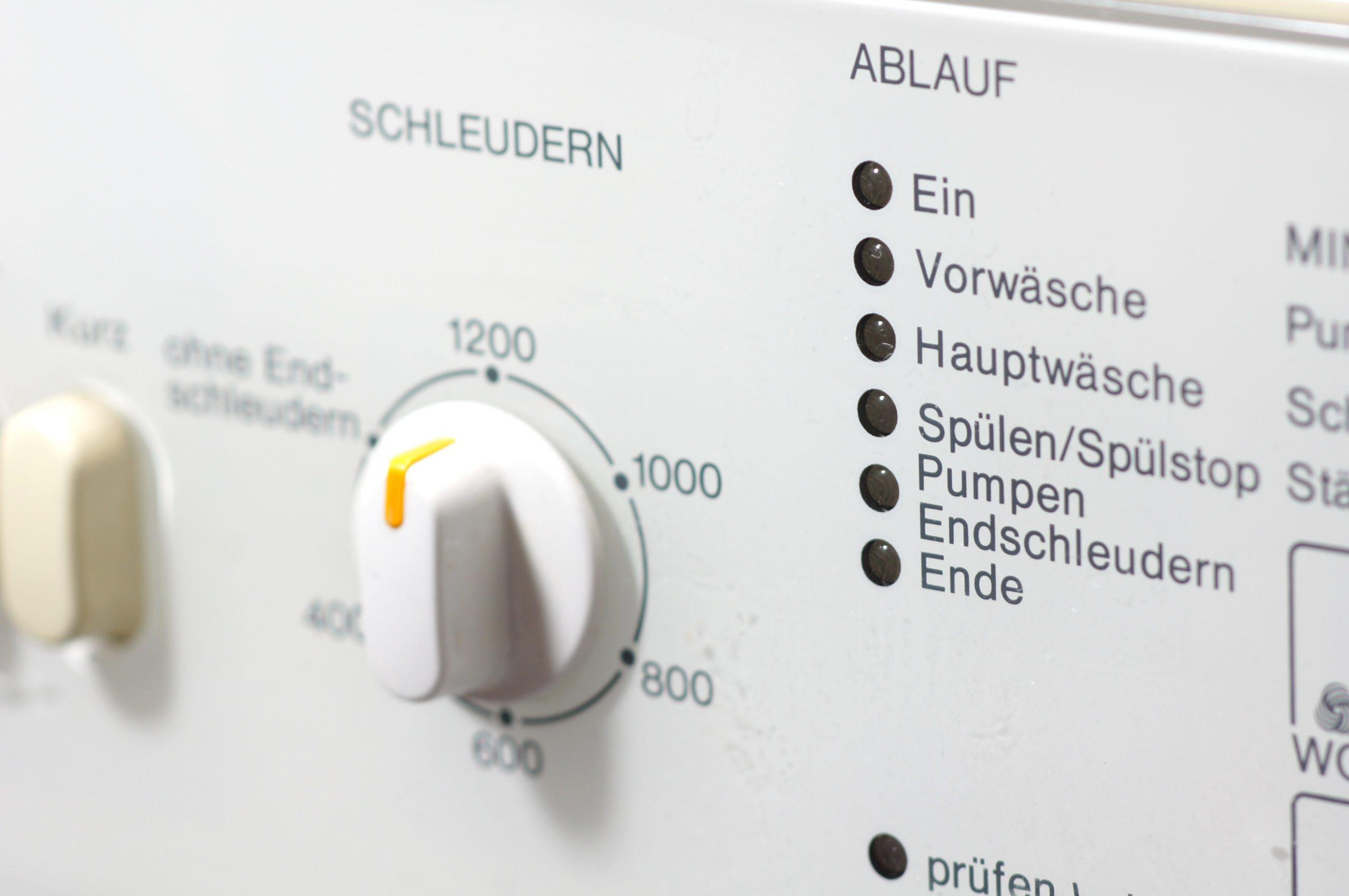 Wichtig: die richtige Schleuderzahl an der Waschmaschine einstellen