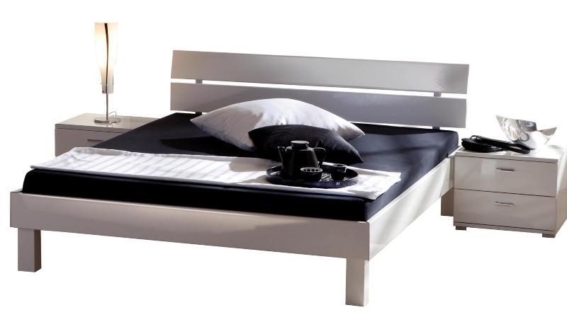 Hasena Movie-Gloss Bett in Hochglanz Füße Mico 25cm und Kopfteil Nuo in Bettfarbe