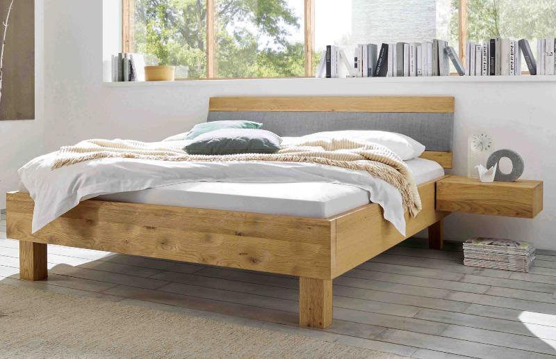 Hasena Bett Oak-Bianco, Farbe Eiche natur, viele Größen, modernes Design, Kopfteil Arico