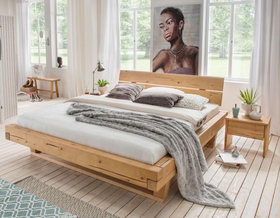 Bubema Massivholzbett Mondera, Balken-Bett mit Kopfteil, Holzfuesse in Kufenform
