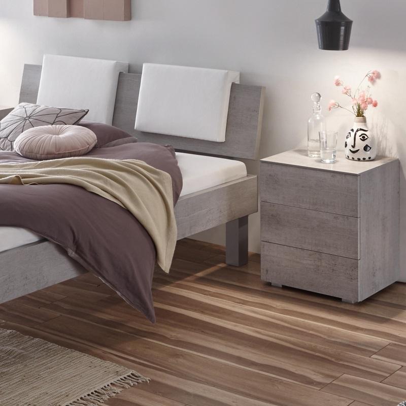 Hasena Bett Top-Line, Farbe Beton,modernes Design, Kopfteil Advance 18 mit Dekokissen