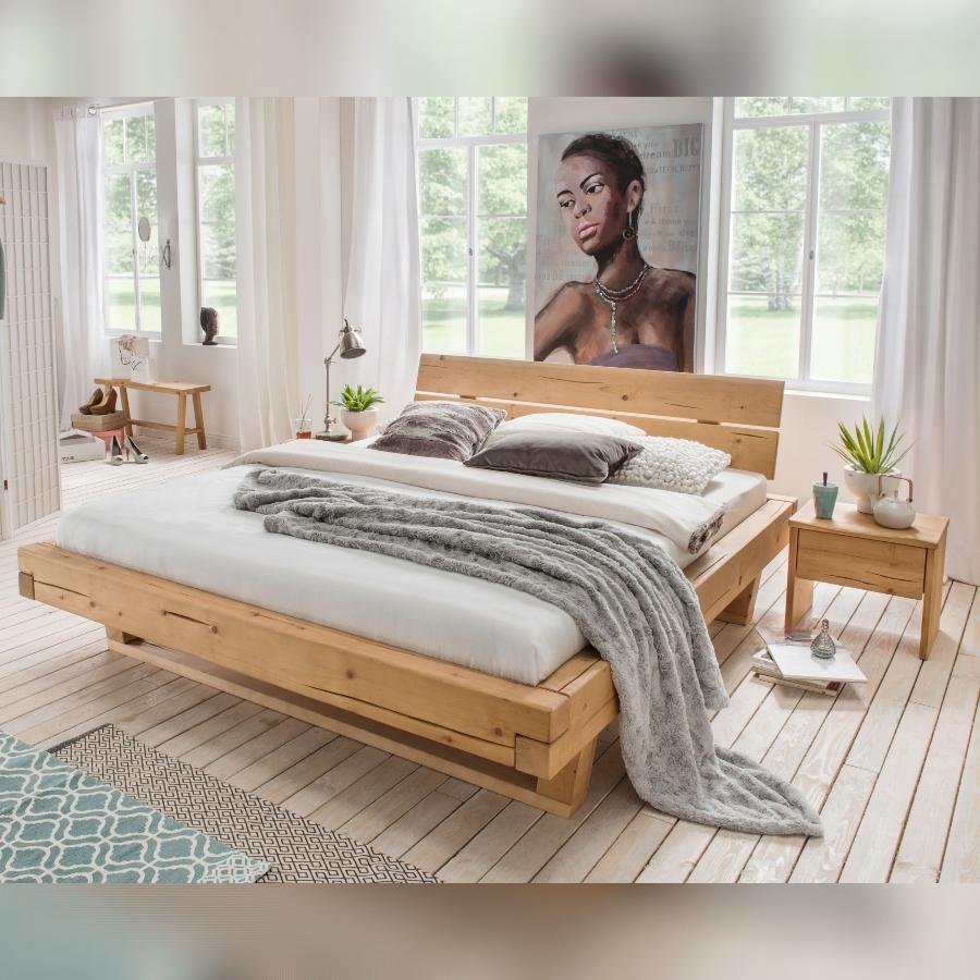 Bubema Massivholzbett Mondera Balken-Bett mit Kopfteil Holzfuesse in Kufenform Möbel aus Fichte