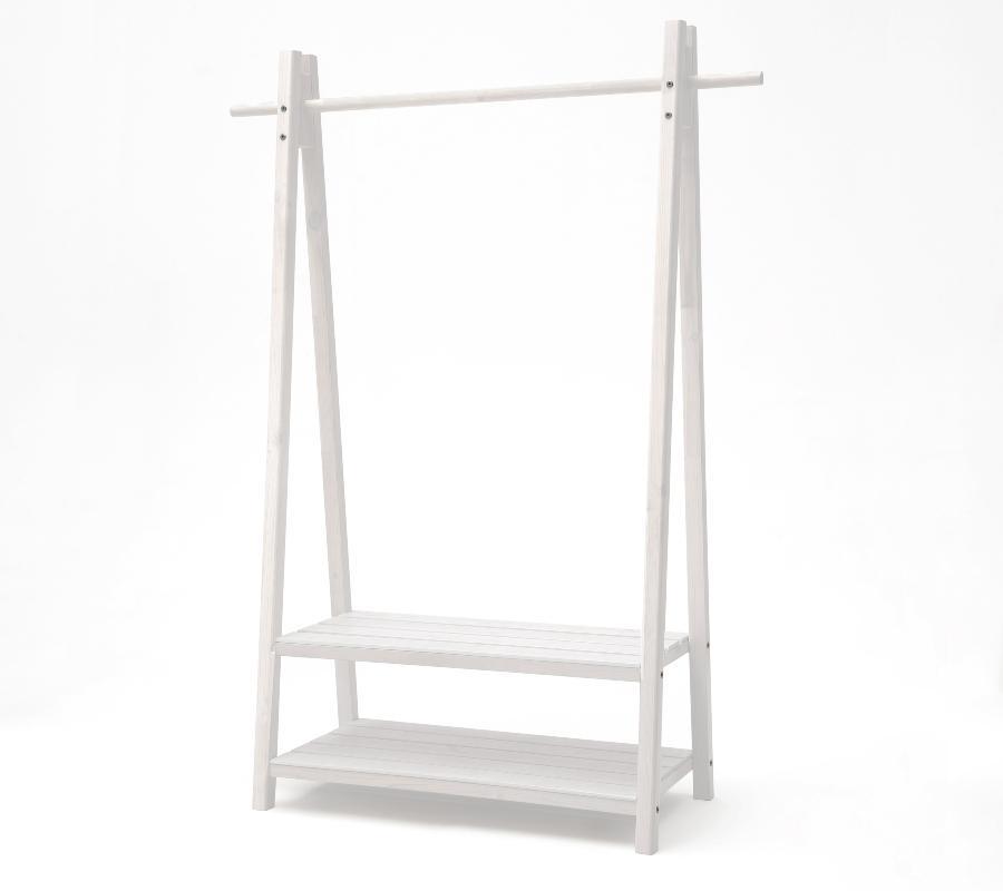 Standgarderobe Skadi im skandinavischen Design mit zwei Ablageboeden und einer Kleiderstange kleiderschrank-aus-holz