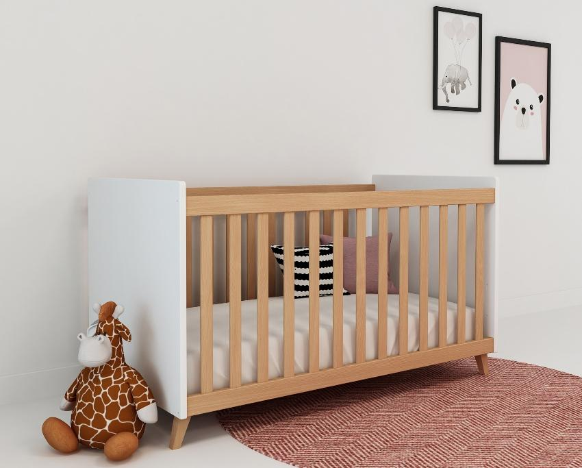 Bubema Babybett Lino mit Schlupfsprossen - Gitterbett für Babys