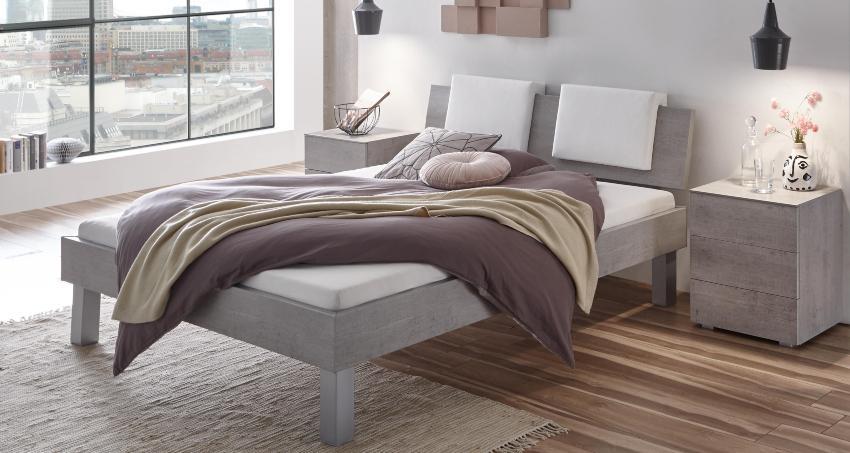 Hasena Bett Top-Line, Farbe Beton,modernes Design, Kopfteil Advance 18 mit Dekokissen Bettenvergleich