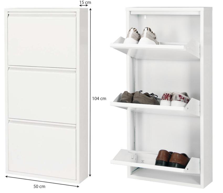 Betten-ABC Schuhschrank Amelie, modern, robust und platzsparend, aus pflegeleichtem Metall Schlaf- und Wohnzimmer in einem kleinen Raum