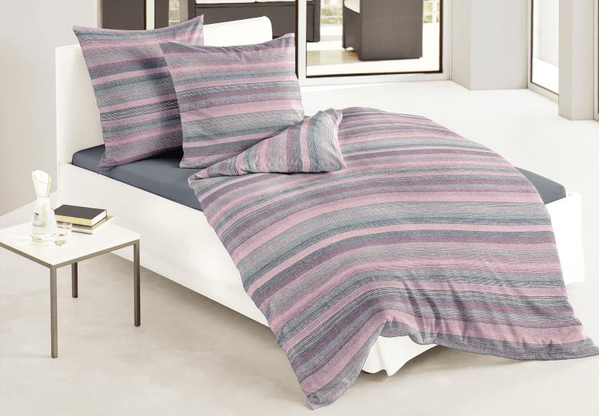 Bierbaum Mako-Satin Bettwäsche, Grau 100% Baumwolle, in zwei Größen erhältlich Sommerbettwäsche