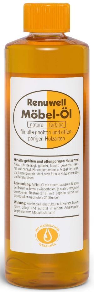 Renuwell Möbel-Öl für alle geölten und offenporigen Holzarten, innen und außen - Ölen oder wachsen, beides ist wichtig