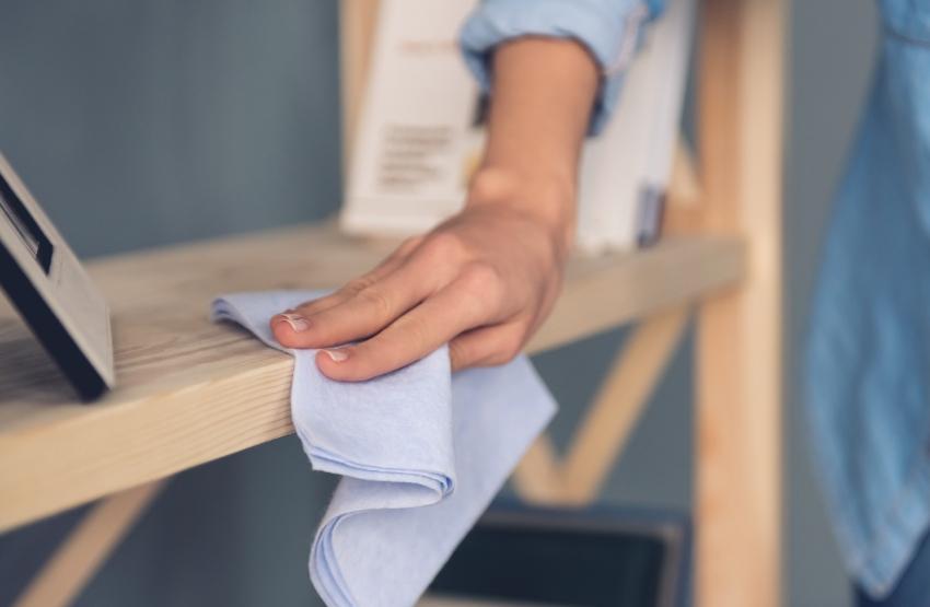 Frau reinigt Regal mit Tuch - Holzmöbel pflegen