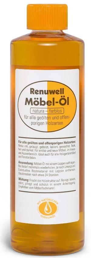 Renuwell Möbel-Öl für alle geölten und offenporigen Holzarten, innen und außen - Holzmöbel pflegen