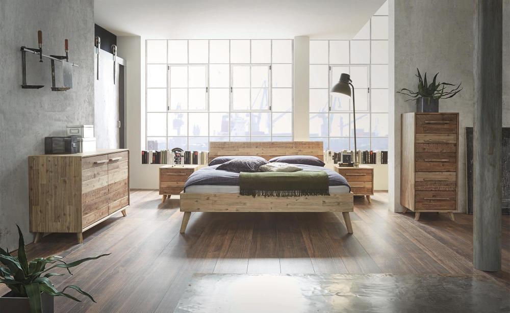 Hasena Bett Factory-Chic, Farbe Akazie, viele Größen, modernes Design, Kopfteil Varus