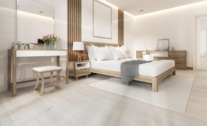 Modernes Schlafzimmer - Aufbewahrung von Bettwäsche in Kommoden
