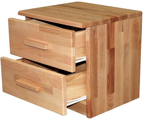 Bubema Nachttisch, Kernbuche massiv Natur geölt, mit zwei Schubladen