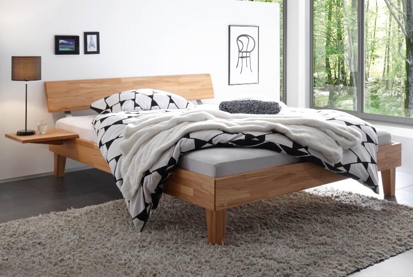 Hasena Bett Wood-Line, Kernbuche natur geölt, Kopfteil Rino, zeitloses Design - Schlafzimmerausstattung
