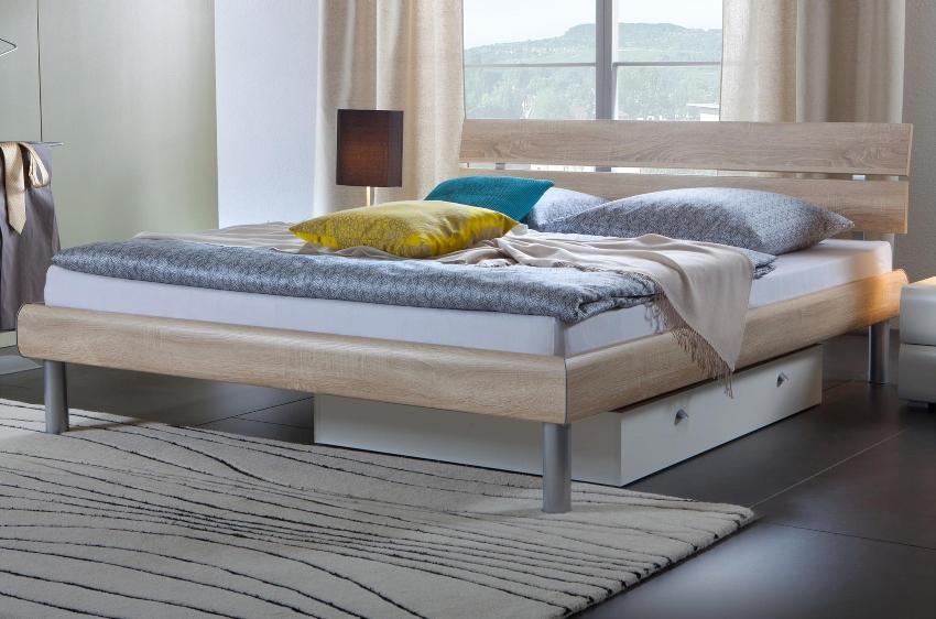 Hasena Soft-Line Bett in verschiedenen Farben, Füße Soko 20 cm und Kopfteil Nuo in Bettfarbe