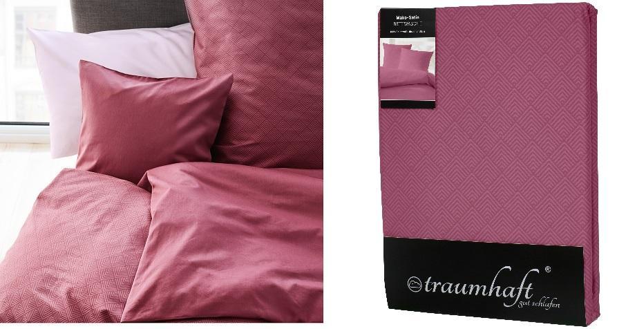 """Traumhaft gut schlafen Mako-Satin-Bettwäsche """"falsches Uni"""" aus 100% Baumwolle, in versch. Farben"""