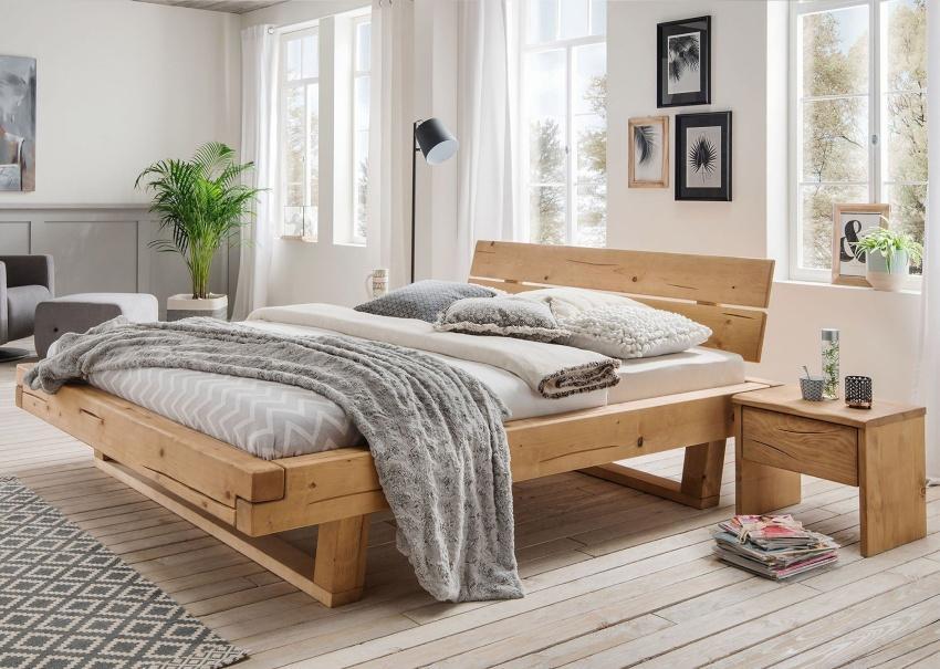Bubema Massivholzbett Mondera, Balken-Bett mit Kopfteil, Holzfüße in Kufenform