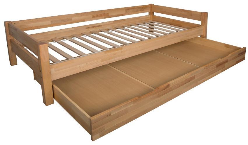 Bettgestell mit Bettkasten aus Buchenholz
