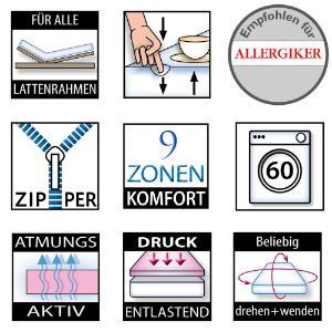 Betten-ABC® OrthoMatra-GEL-1000 mit 4 cm Gelschaum Orthopädische 9-Zonen-Gel-Kaltschaummatratze